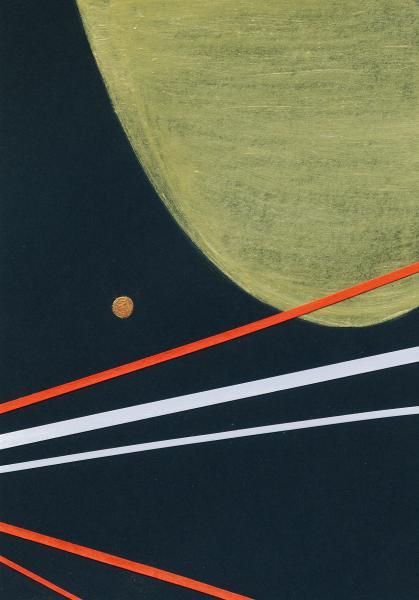 Asteroide dorato. 2009. Collage e acrilico su carta. cm. 30,5X26. Copyright A. Cocchi ©2009.
