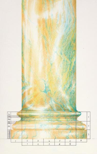 Base composita. 1993. pastelli. Copyright  A. Cocchi © 1993