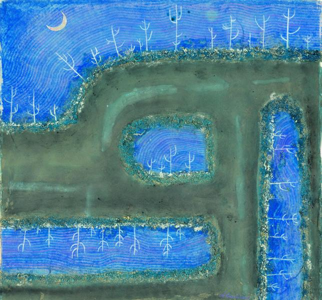 Brina sotto la luna. 2006. Collage polimaterico su carta. cm. 29,8X27,7. Copyright  A. Cocchi ©2006