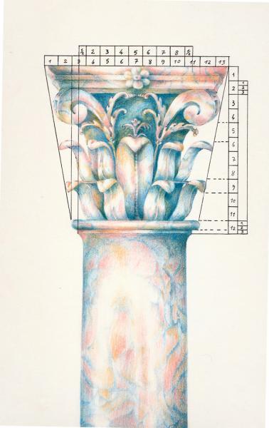 Capitello Composito. 1992. Pastelli su carta. cm. 29,7X21. Copyright A. Cocchi © 1992