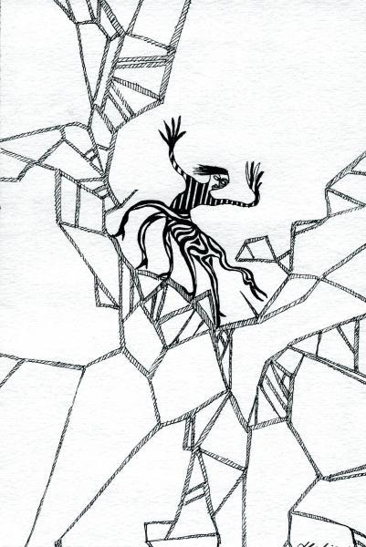 Centauro smarrito. 2001. China su carta. cm. 29,7X21. Copyright  A. Cocchi ©2001