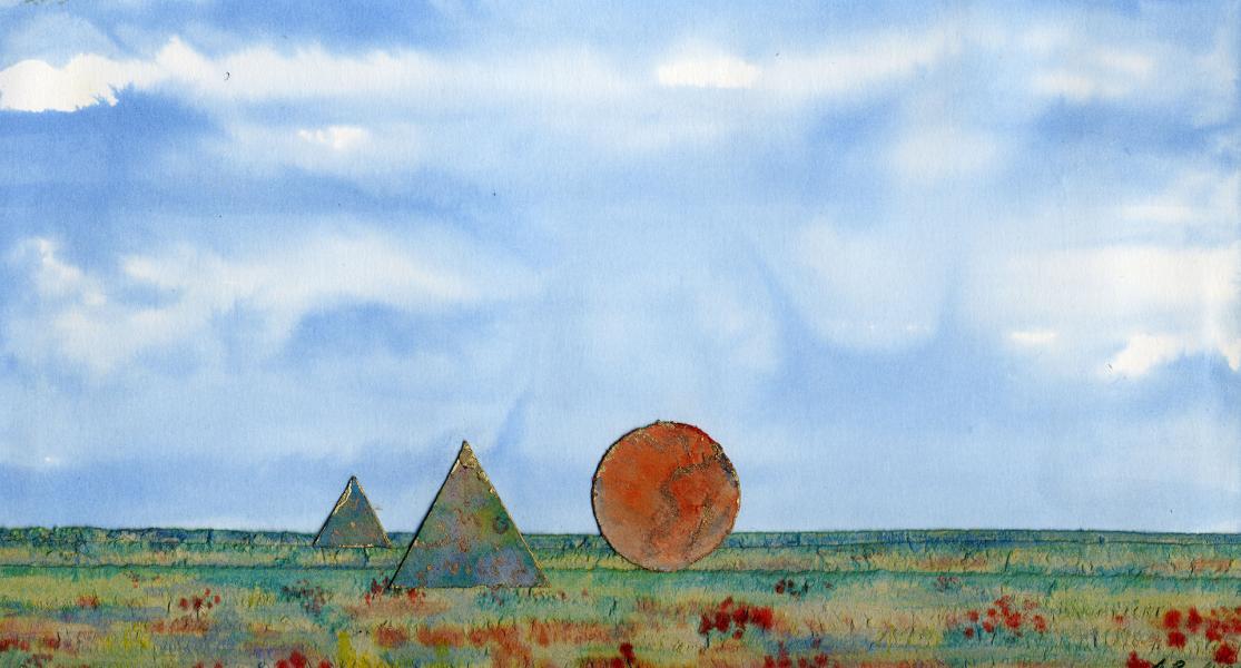 Direttamente dal cielo. 1997. Inchiostri e collage su carta. cm. 29,5X42. Copyright  A. Cocchi ©1997