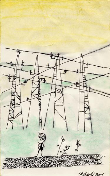 Domenica pomeriggio. 2001. China, pastello e acquarello su carta. cm. 29,7X21. Copyright  A. Cocchi ©2001. Collezione privata