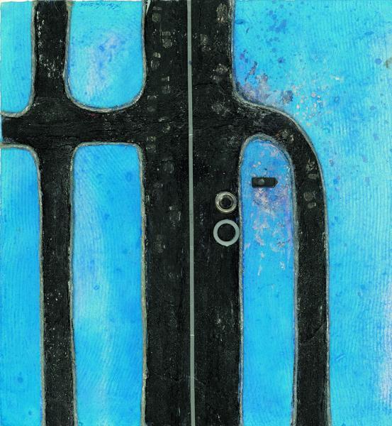 Due cerchi sulla strada. 2006. Collage polimaterico su carta. cm. 48X46. Copyright  A. Cocchi ©2006