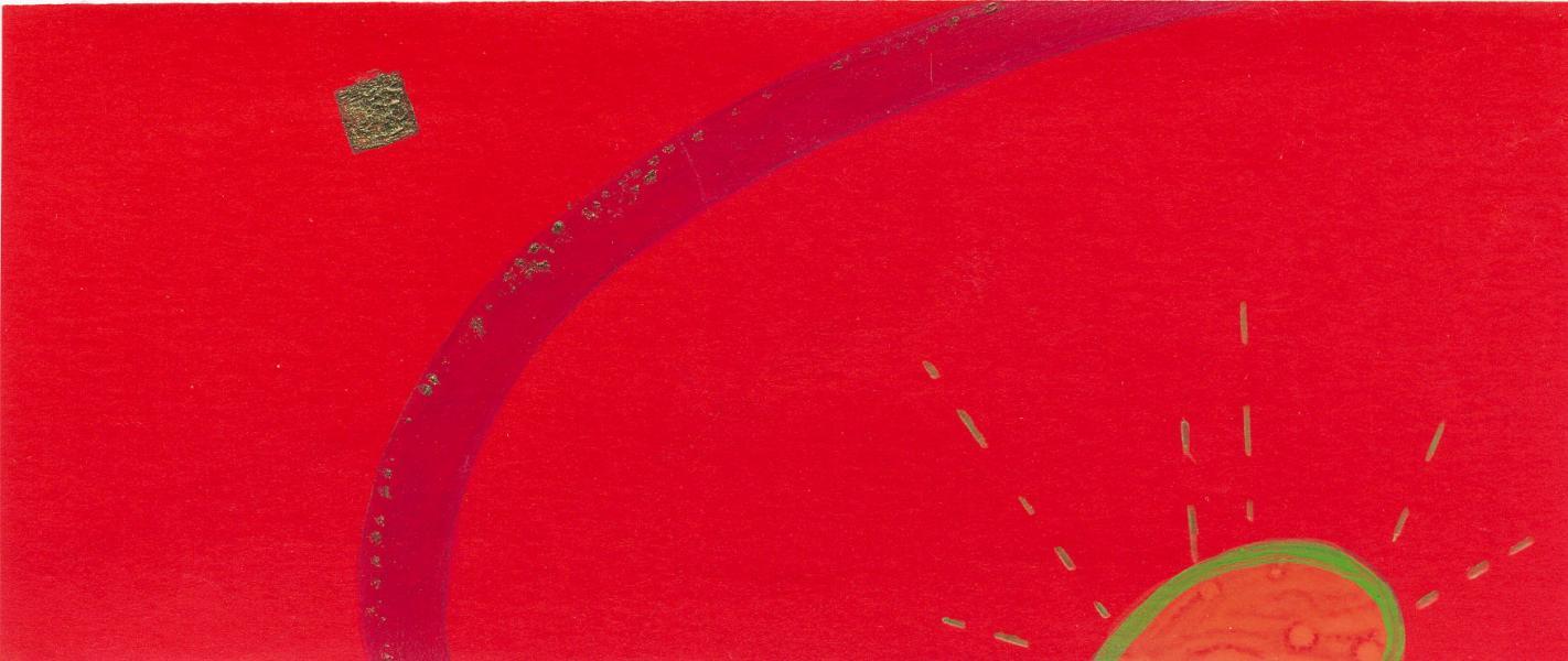 Emanazioni-rosso. 2011. Acrilico, creta e acquarello. Cm. 7,5X6,7. Copyright  A. Cocchi ©2011.