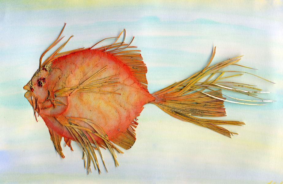 Fossile futuro. Rosso-oro. 1997. Collage, rilievo e inchiostri su carta. cm. 17,4X29. Copyright  A. Cocchi ©1997