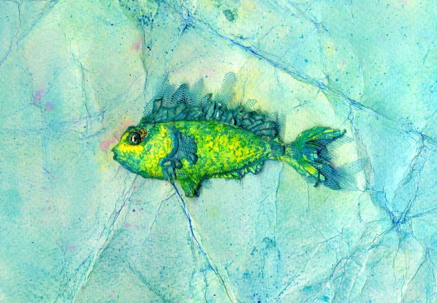 Fossile futuro. Verde-giallo. 1997. Collage, rilievo e inchiostri su carta. cm. 17,4X29. Copyright  A. Cocchi ©1997