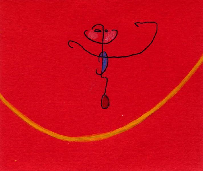 Funambolo. 2011. China, acrilico e acquarello. Cm. 6,7X7,5. Copyright A. Cocchi ©2011