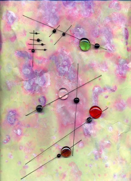 Giochi sospesi. 1998. Collage polimaterico su carta. cm. 49,7X50,5. Copyright  A. Cocchi ©1998