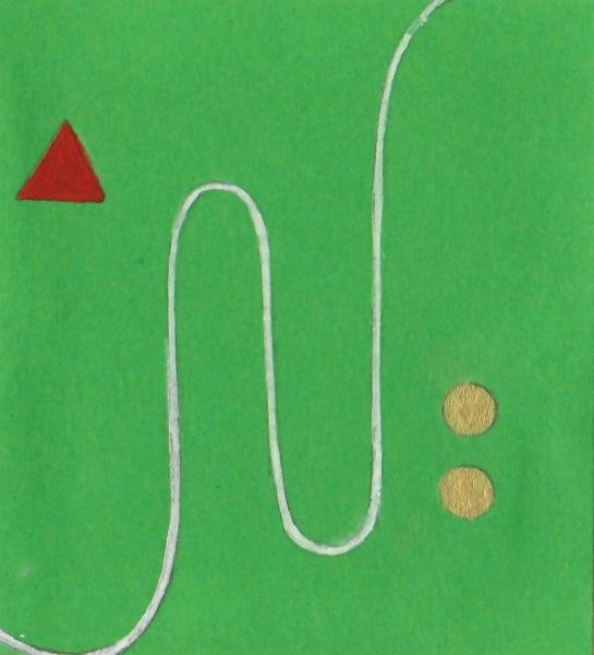Gocce di sole sul prato. 2011. Acrilico, creta e acquarello. Cm. 7,5X6,7. Copyright A. Cocchi ©2011.