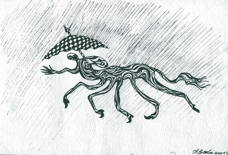 Ho fretta e piove. 2001. China su carta. cm.    Copyright  A. Cocchi ©2001