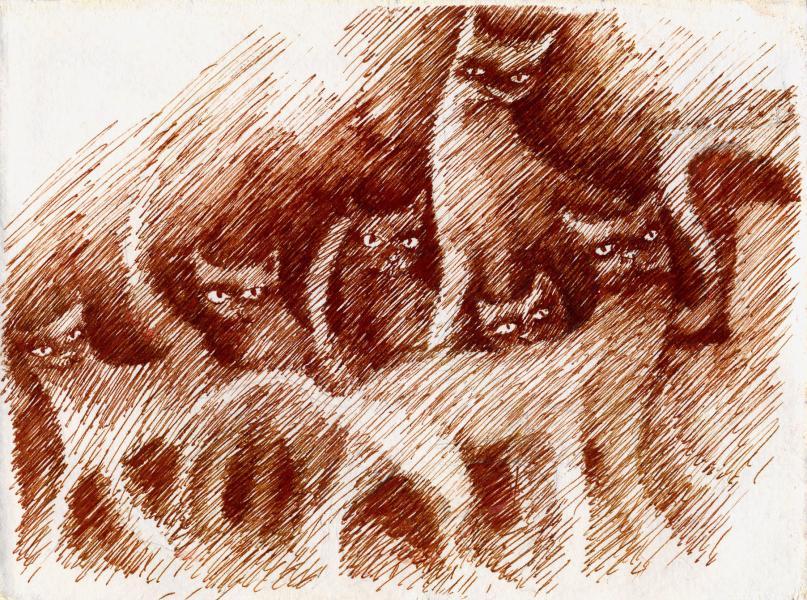 I signori della notte. 2001. Inchiostro seppia su carta. cm.    Copyright  A. Cocchi ©2001