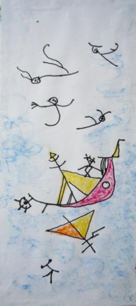 I venti e il marinaio.2001. China e pastelli su carta. cm.29,5X21. Copyright  A. Cocchi ©