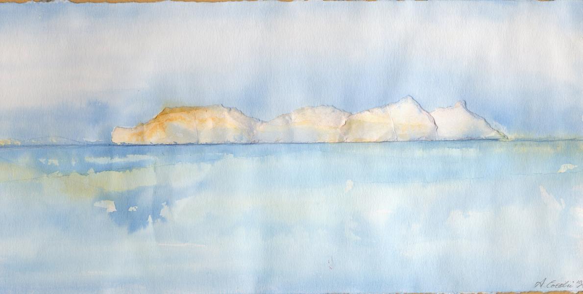 Iceberg. Inchiostri e collage su carta. 1997.cm.15X31,5. Copyright  A. Cocchi © 1997
