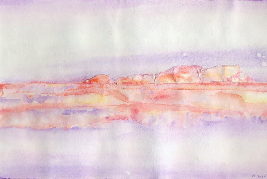 Iceberg rosa. 1997. Inchiostri e collage su carta. cm. 29,5X42. Copyright  A. Cocchi ©1997