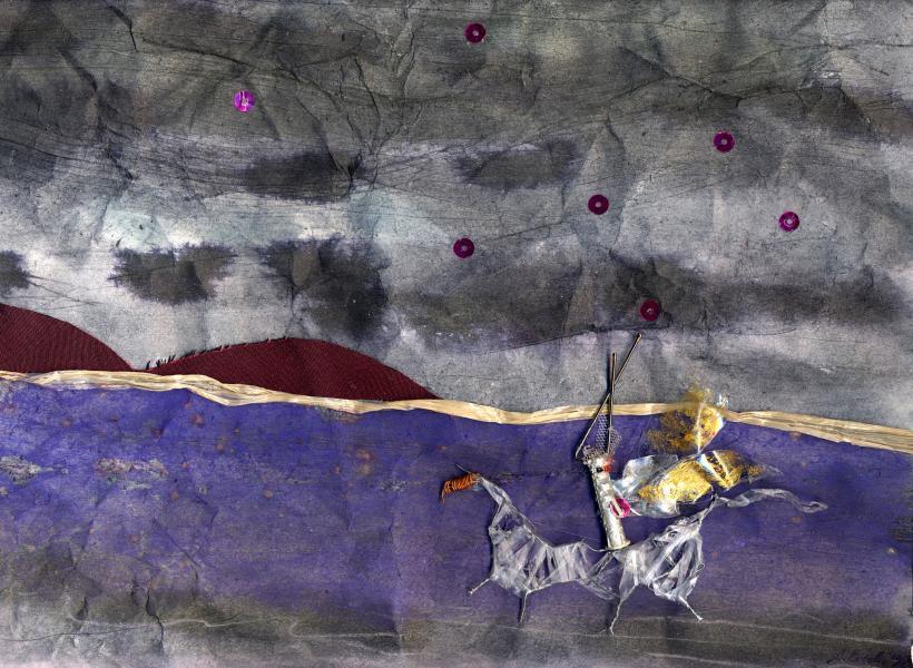 Il ladro di stelle.1998. Collage polimaterico su carta. cm. 38,3X49,8.Copyright  A. Cocchi ©1998