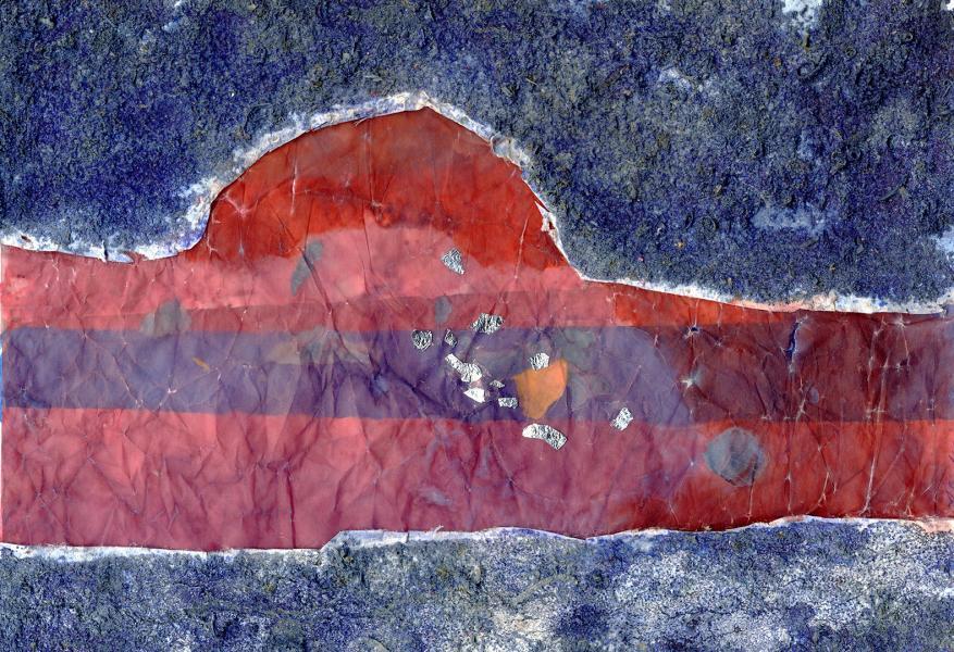 Il lago rosso. 2006. Collage polimaterico su carta. cm. 29,11X21,2. Copyright  A. Cocchi ©2006