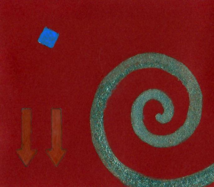 Il peso del pensiero. 2011. Acrilico, creta e acquarello. Cm. 7,5X6,7. Copyright A. Cocchi ©2011.