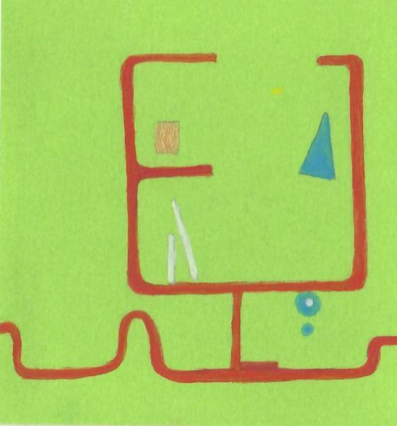 Il posto della speranza. 2011. Acrilico, creta e acquarello. Cm. 7,5X6,7. Copyright A. Cocchi ©2011.