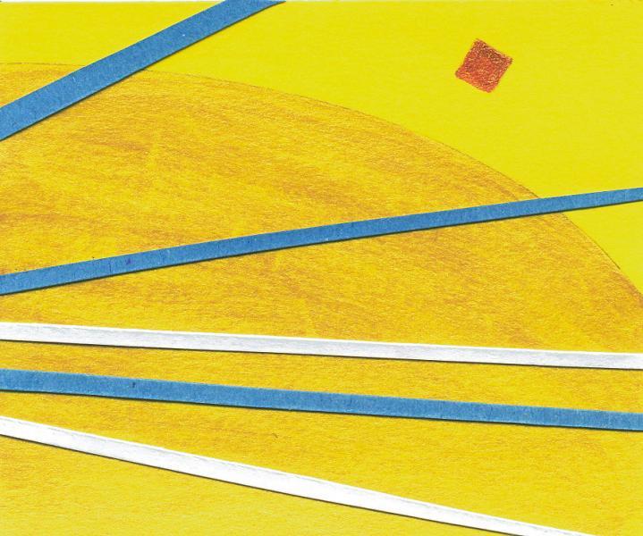 Il ritorno del pianeta dorato. 2008. Collage e acrilico su carta. cm. 17X45. Copyright  A. Cocchi ©2008