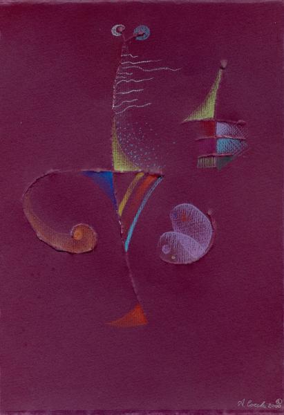 Il vento e la farfalla. 2000. Rilievo e pastelli su carta. Copyright  A. Cocchi © 2000