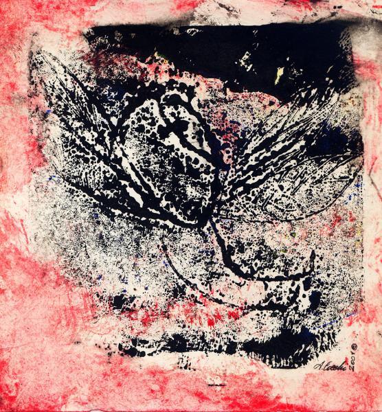 Il vento rosso.  Incisione su matrice in cartone, inchiostri  su carta. cm. 29X20,5. Copyright A. Cocchi ©2001