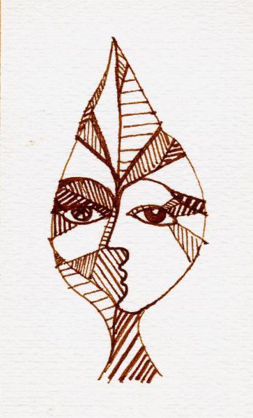 Il viso nella foglia. 2001. Inchiostro seppia su carta. cm.  21X15,2  Copyright  A. Cocchi ©2001