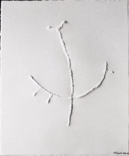 In equilibrio nell'aria. 2000. Rilievo su carta. cm.41,5X30. Copyright  A. Cocchi © 2000