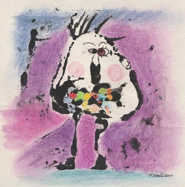 L'ingordo. Incisione su matrice in cartone, inchiostri su carta. cm. 29,7X21. Copyright A. Cocchi ©2001