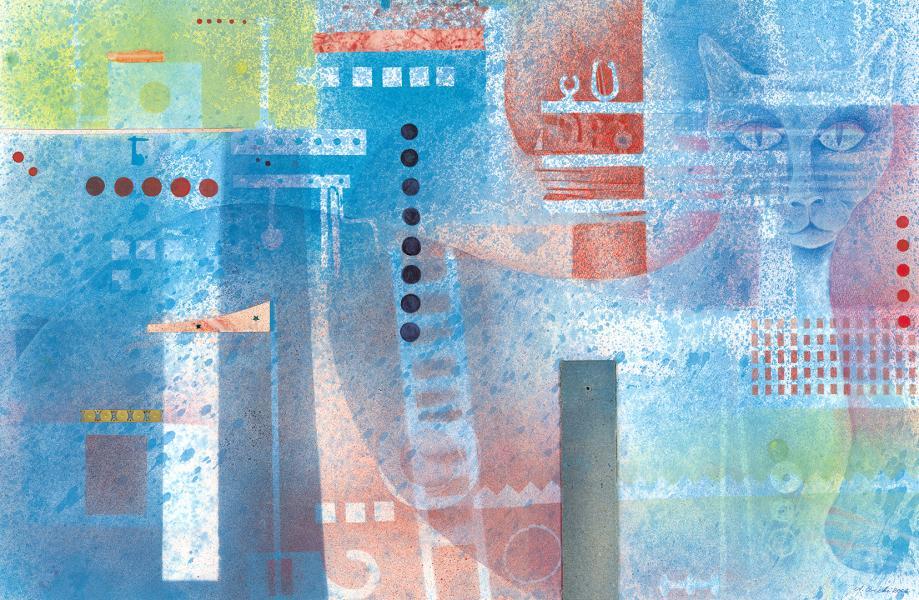 L'ospite della sera. 2006. Collage polimaterico su carta. cm. 50x70. Copyright  A. Cocchi ©2006