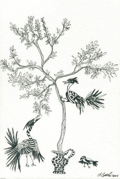 L'ulivo nella brocca.  2001. China su carta. cm.    Copyright  A. Cocchi ©2001.