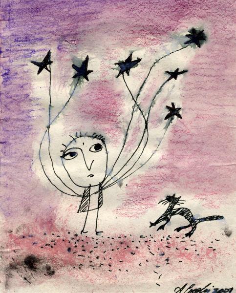 L'uomo con le stelle nere. 2001. China, tempera e pastelli su carta. cm. 25X16,6. Copyright  A. Cocchi ©2001. Collezione privata
