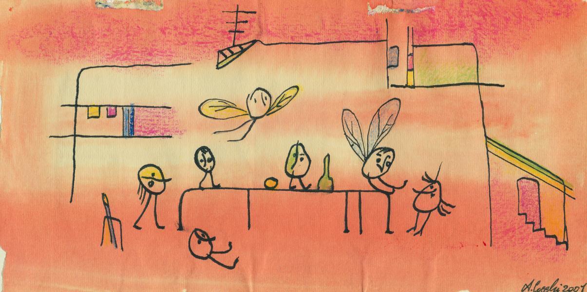 La casa dei sette spiriti. 2001. China, inchiostri e  pastelli su carta. cm. 21X29,7   Copyright  A. Cocchi ©2001