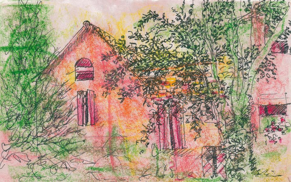 La casa di Mamma Nina. 2001. China e pastelli a cera su carta. cm. 21X29,7. Copyright A. Cocchi ©2001