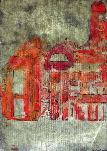 La città che svanisce. 2001. Tecnica mista su carta. cm. 29,2X20,8. Copyright  A. Cocchi ©2001