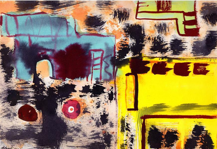 La città delle strade nere. 2001. Tecnica mista su carta. cm. 29,6.X41,9  Copyright  A. Cocchi ©2001