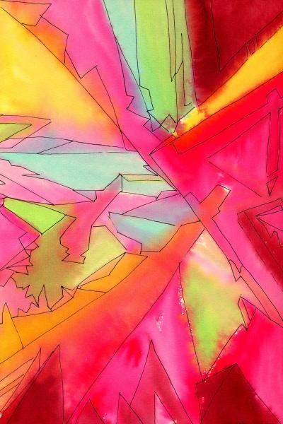 La città di cristallo. 2001. Tecnica mista su carta. cm. 41,9X29,6. Copyright  A. Cocchi ©2001. Collezione privata
