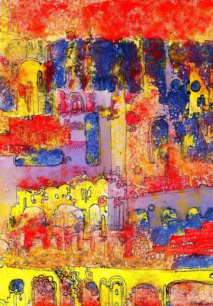 La città di fuoco. 2001. Tecnica mista su carta. cm. 29,2 20,8. Copyright  A. Cocchi ©2001