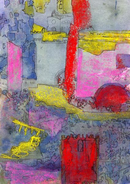 La città vecchia. 2001. Tecnica mista su carta. cm. 41,9X29,6. Copyright  A. Cocchi ©2001