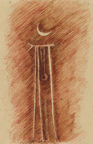 La Luna e il pendolo. 2001. Inchiostro seppia su carta. cm. 29,6X21.  Copyright  A. Cocchi ©2001.