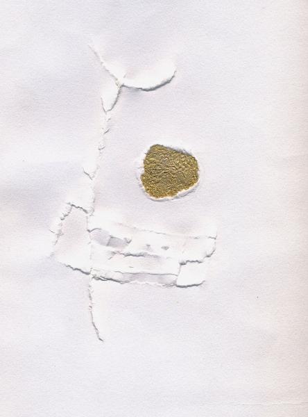 La luna e l'ancella. 2000 Collage e rilievo su carta.  cm. 41,5X30.  Copyright  A. Cocchi ©