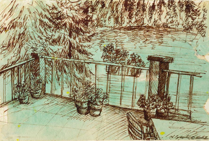 La terrazza sul lago. 2002. China seppia e acquerello. cm. 21X29,7. Copyright  A. Cocchi ©2002