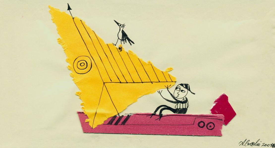 La vela gialla. 2001. China e collage su carta.  cm. 29,5X21. Copyright  A. Cocchi ©2001