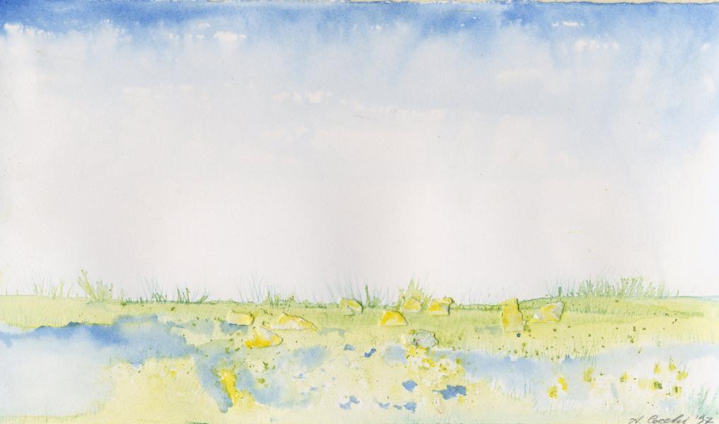 Laguna. 1997. Inchiostri e collage su carta. cm. 21X29,7. Copyright  A. Cocchi ©1997