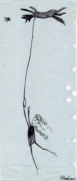 Le due gravità. 2001. China su carta. cm. 29,6X21. Copyright  A. Cocchi © 2001