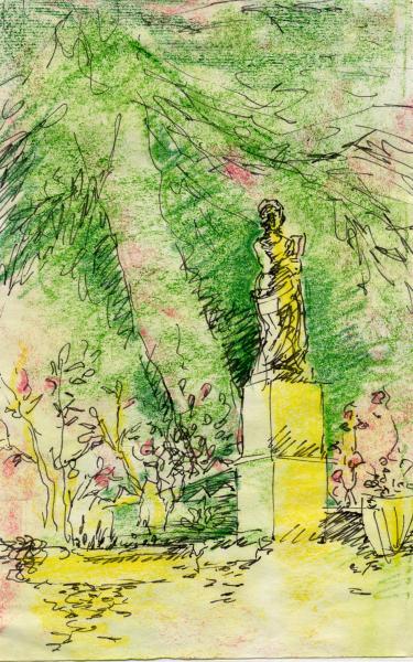 Le rose e il pino. China e pastelli a cera su carta. cm. 29,7X21 Copyright  A. Cocchi ©2001