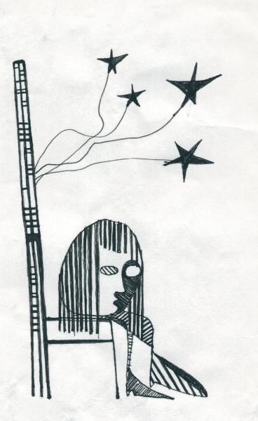 Licia e le sue stelle nere. 2001. China su carta. cm. 29,5X21.  Copyright  A. Cocchi ©2001