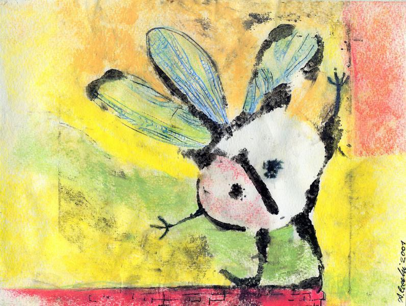 Lo spirito sul muretto.  Incisione su matrice in cartone, inchiostri e pastelli su carta. cm. 29,5X21. Copyright A. Cocchi ©2001