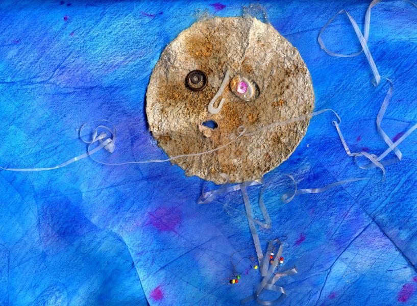 Luna impazzita. 1998. Collage polimaterico su carta. cm. 49,7X70. Copyright  A. Cocchi ©1998