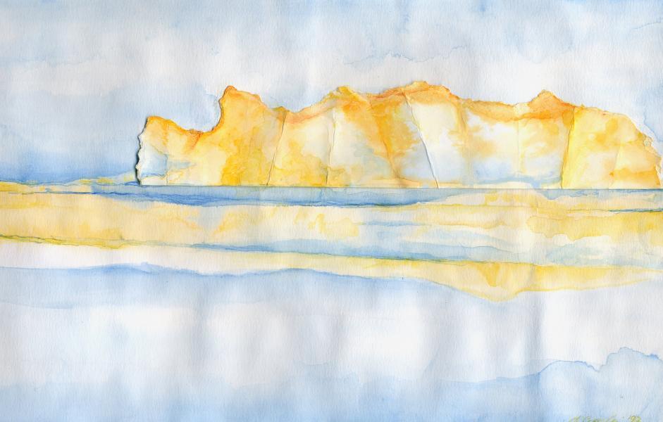Montagna dorata. 1997. Inchiostri e collage su carta. cm. 29,5X42. Copyright  A. Cocchi ©1997